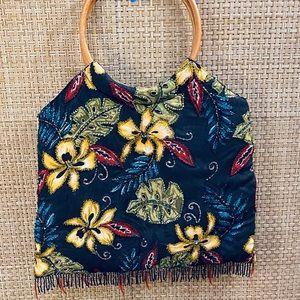 🌟HP🌟ΝWOT Floral Beaded Hoop Handle Navy Bag